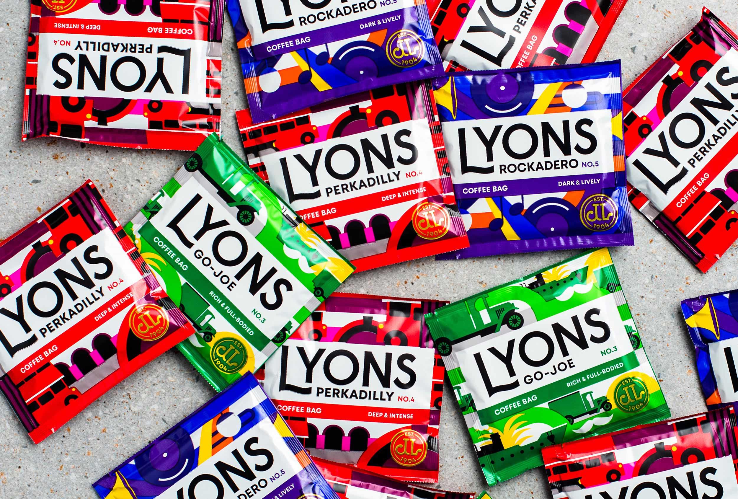 Lyons coffee bags - branding by Distil Studio.