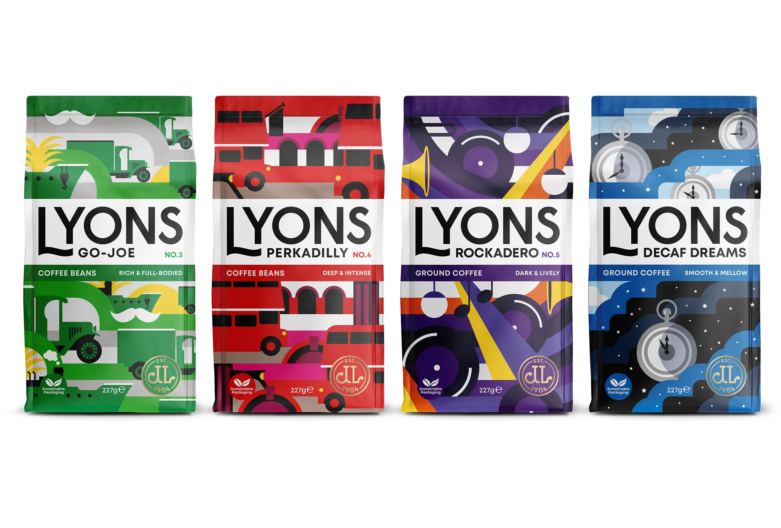 Lyons Coffee –four new coffee blends with new brand design..