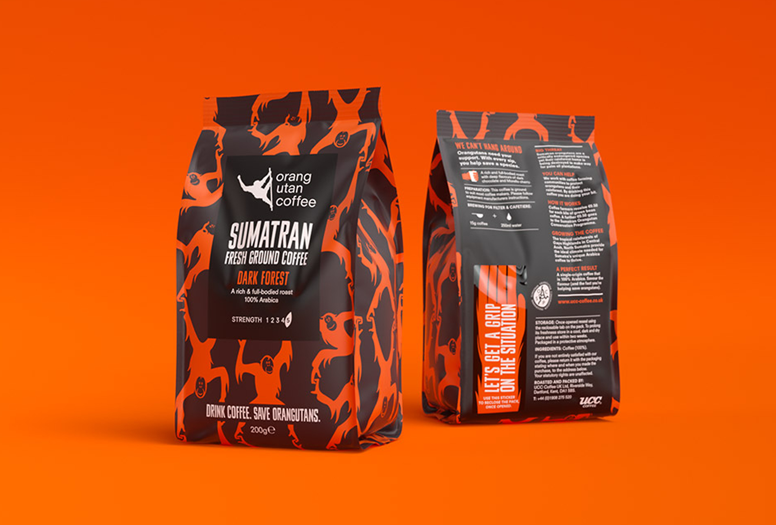Branded packaging for Orang Utan coffee, designed by Distil Studio.