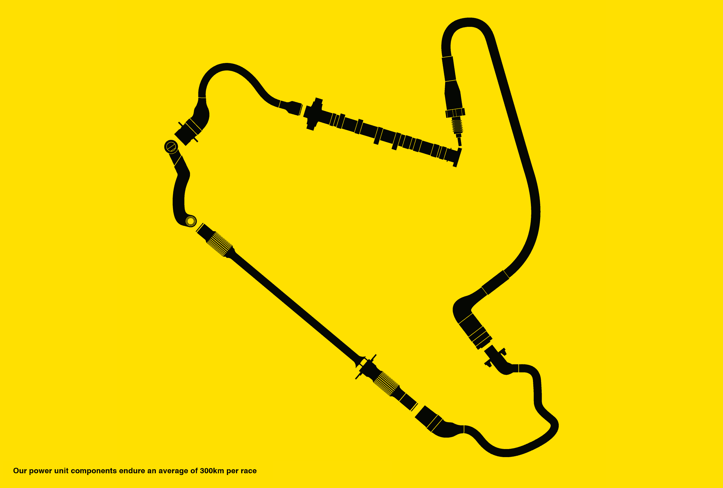 Power unit components forming a race track.