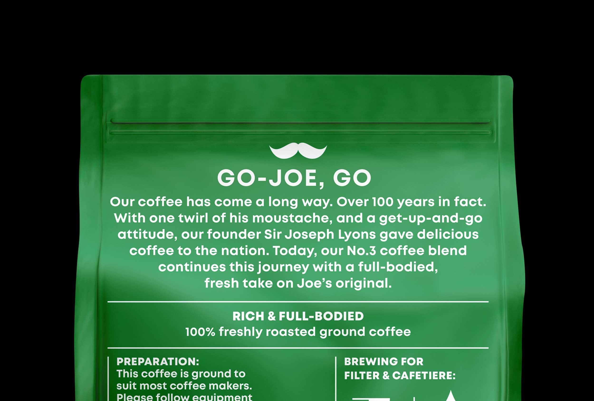 Lyons Go-Joe packaging designed for UCC coffee.