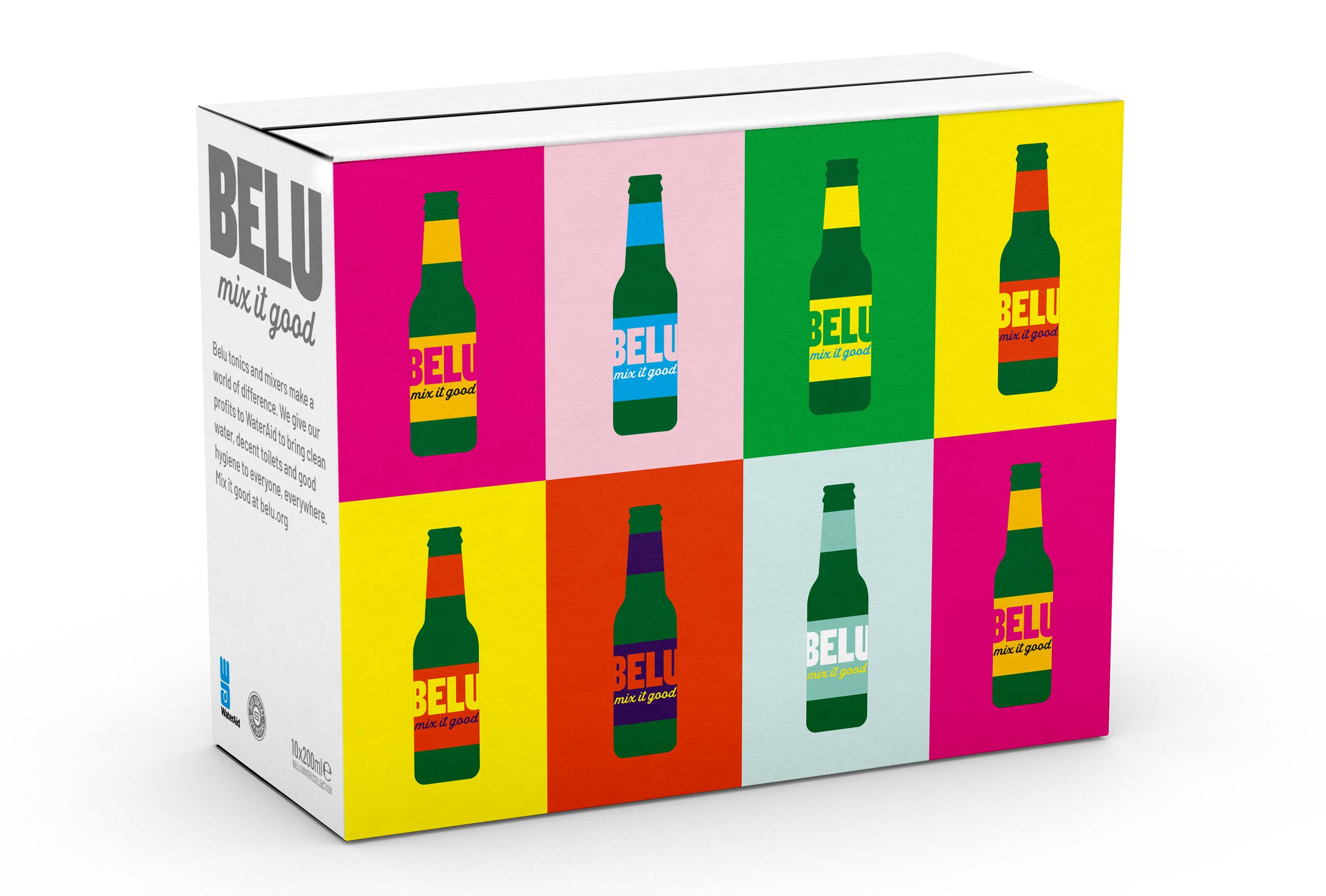Graphic branded pattern for Belu mixers, designed by Distil Studio.