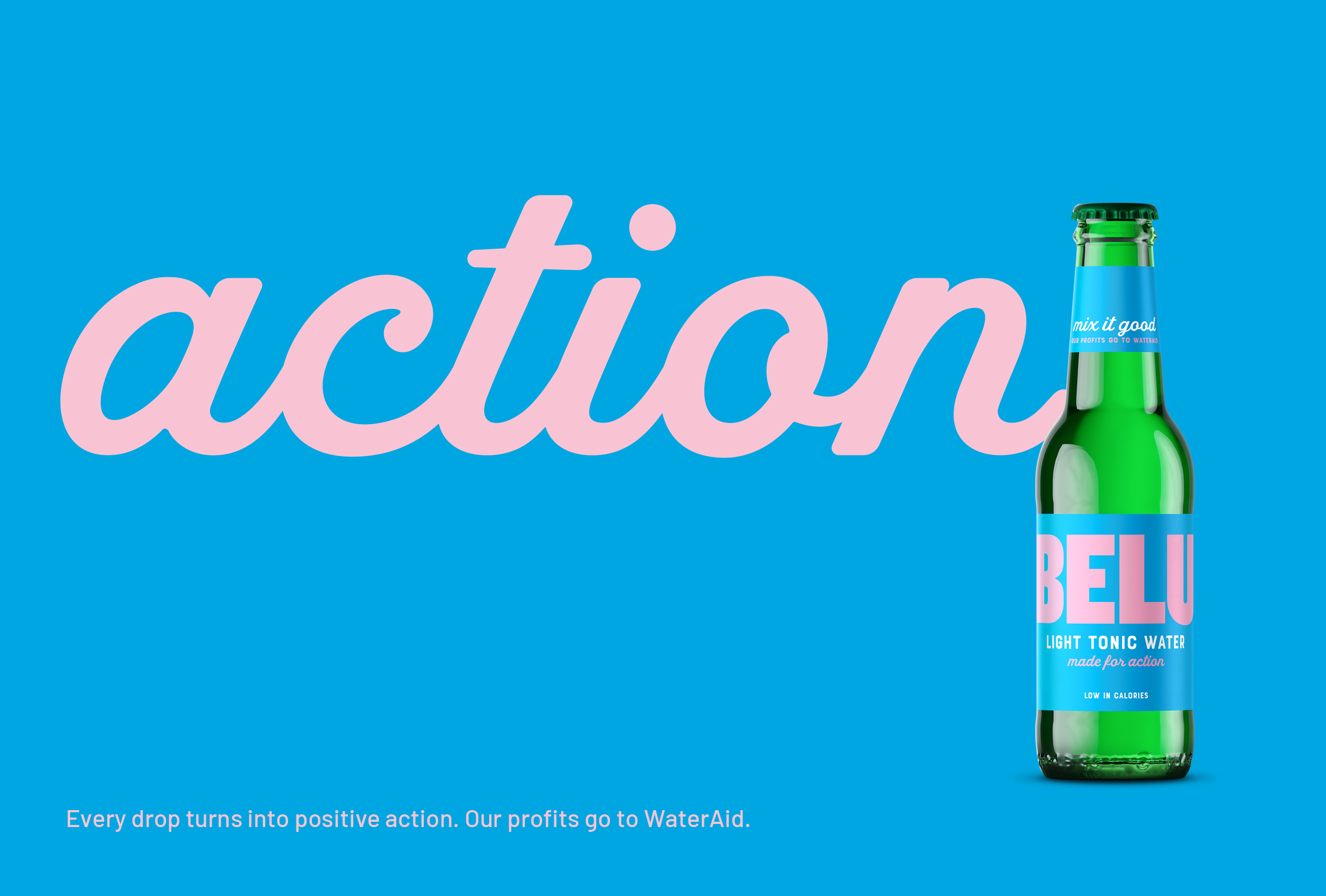 'Made for action' – one of three straplines we created for Belu's range of mixers.