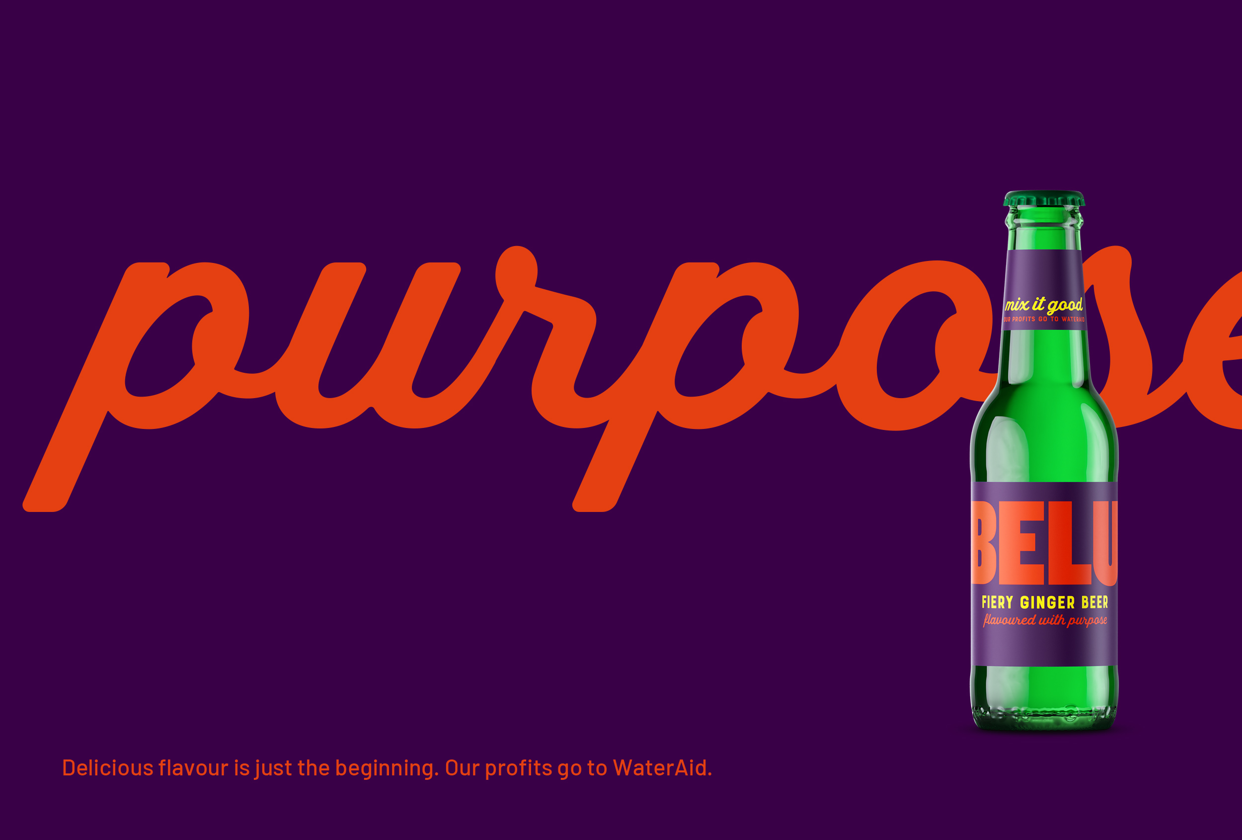'Flavoured with purpose' – one of three straplines we created for Belu's range of mixers.