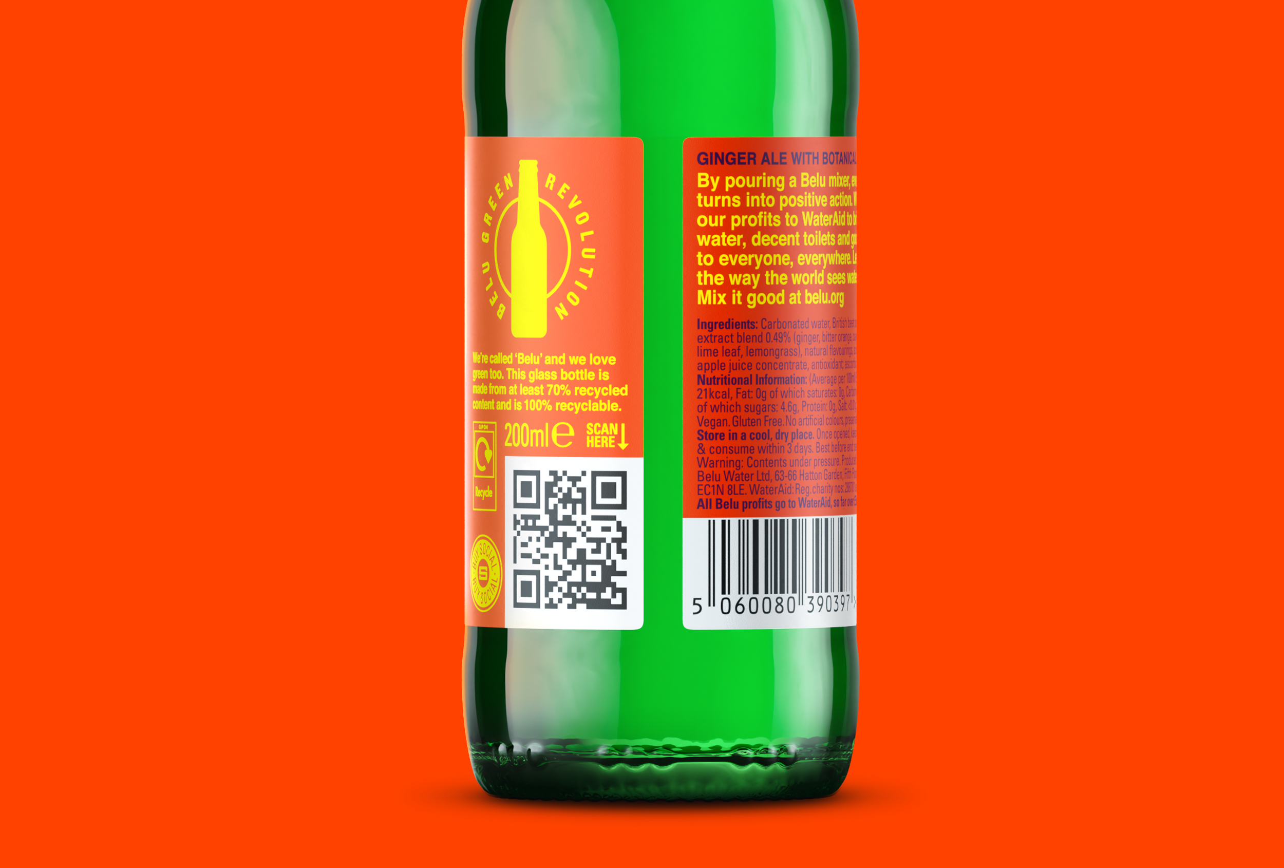 QR and back of label design for Belu mixers.