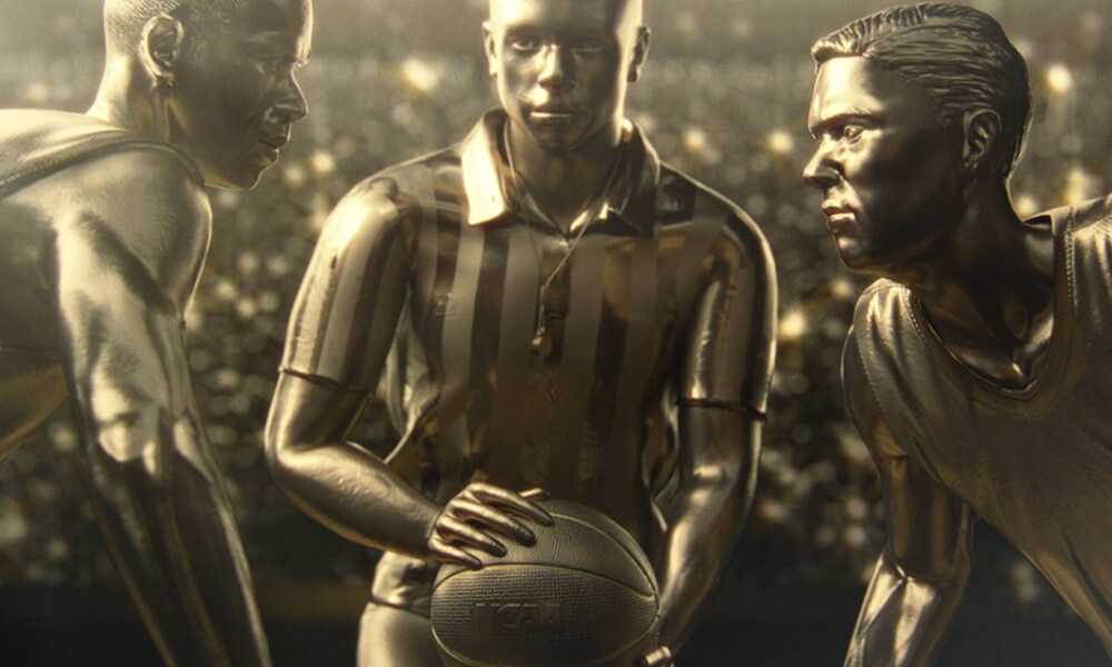 An image showing a gold rendering of basketball players