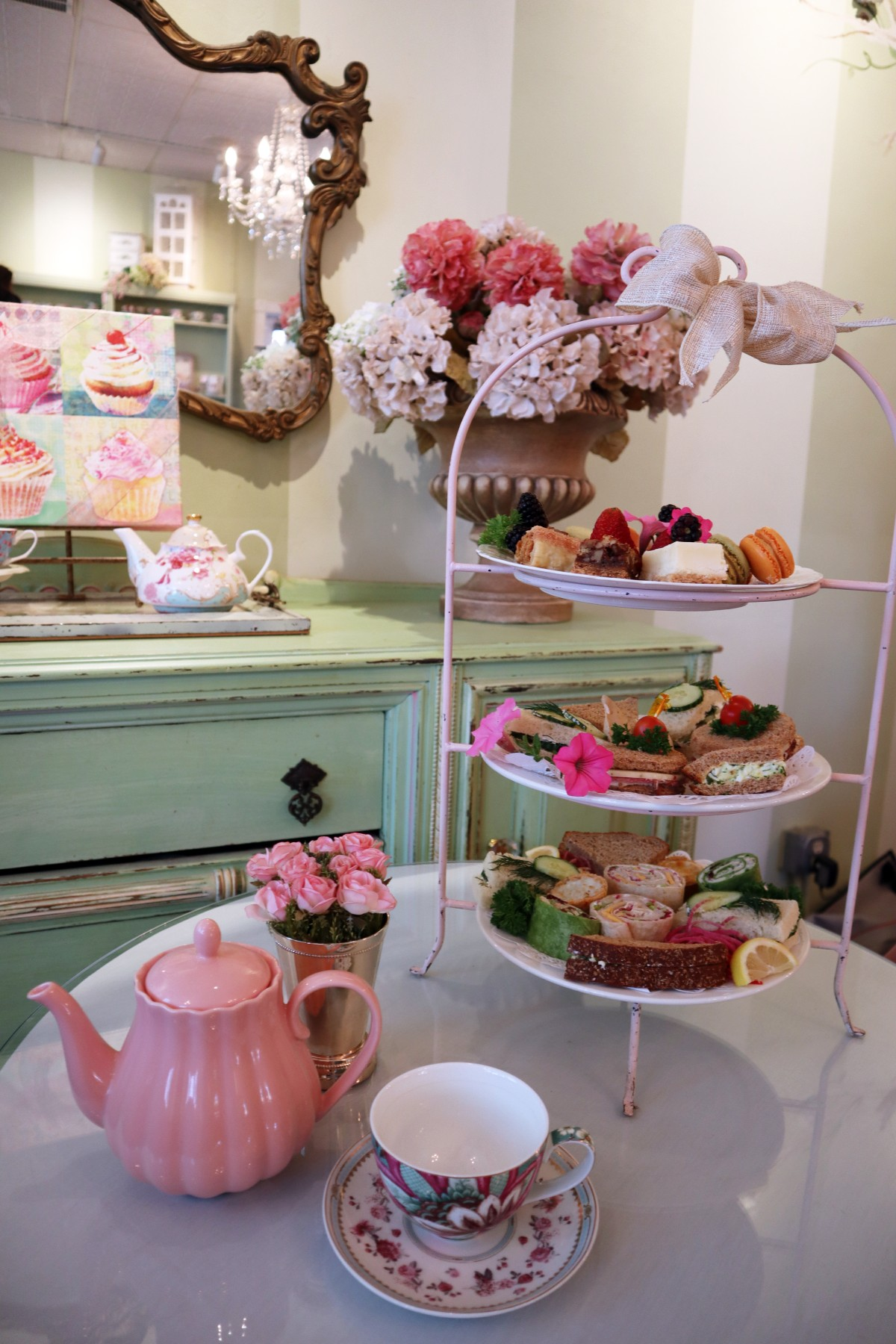 Tea set including tea pot, saucer and cup on the table at 163 Neal Street, Pleasanton, CA 94566