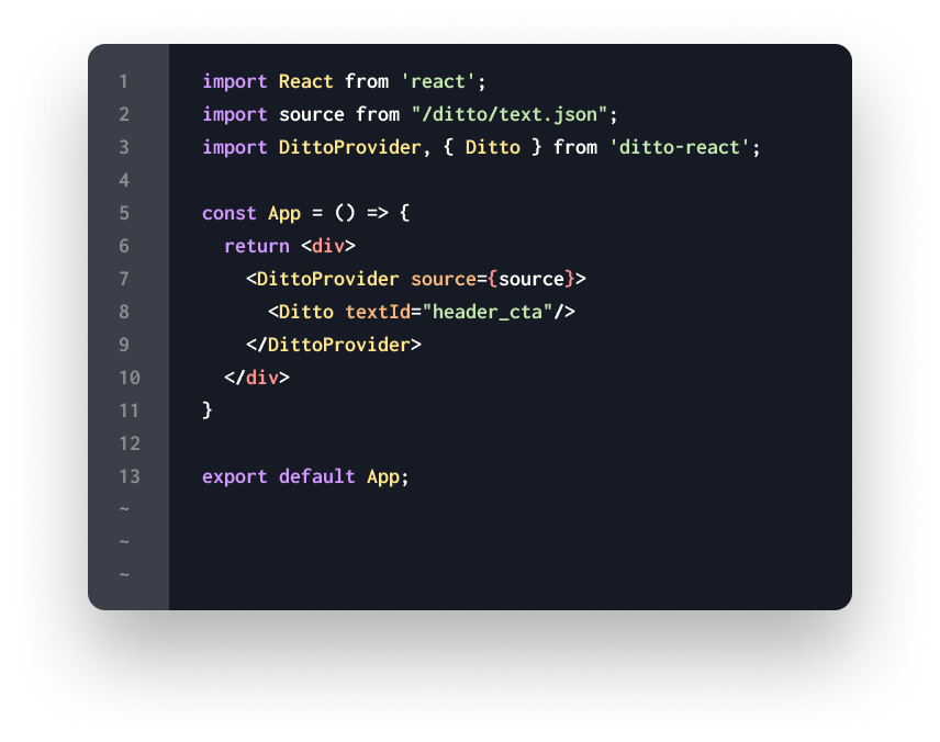 Code sample of Ditto React SDK