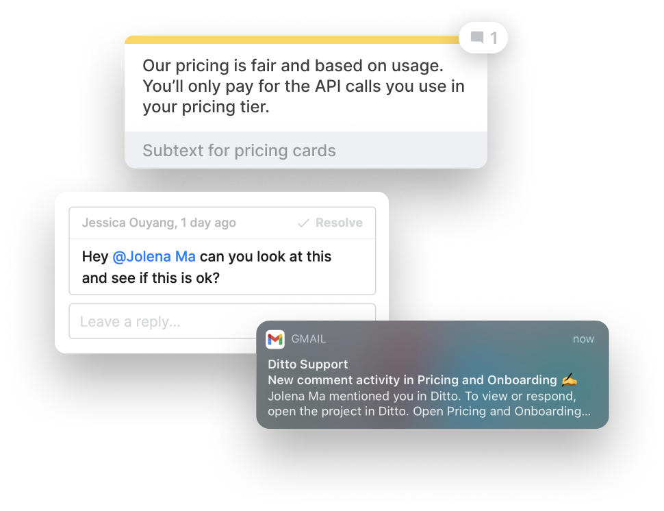 Feedback in Ditto with comments and email notifications