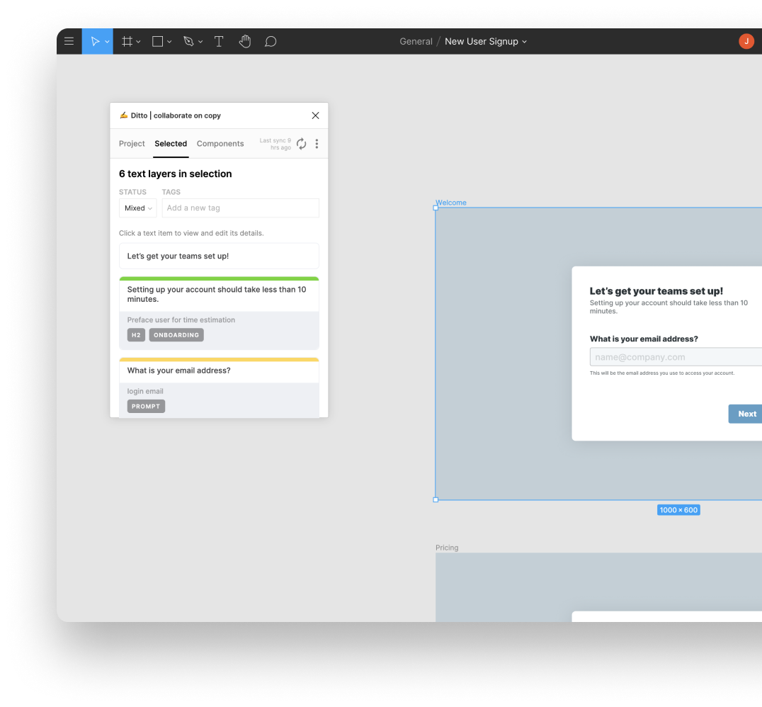 Screenshot of Ditto plugin open in Figma