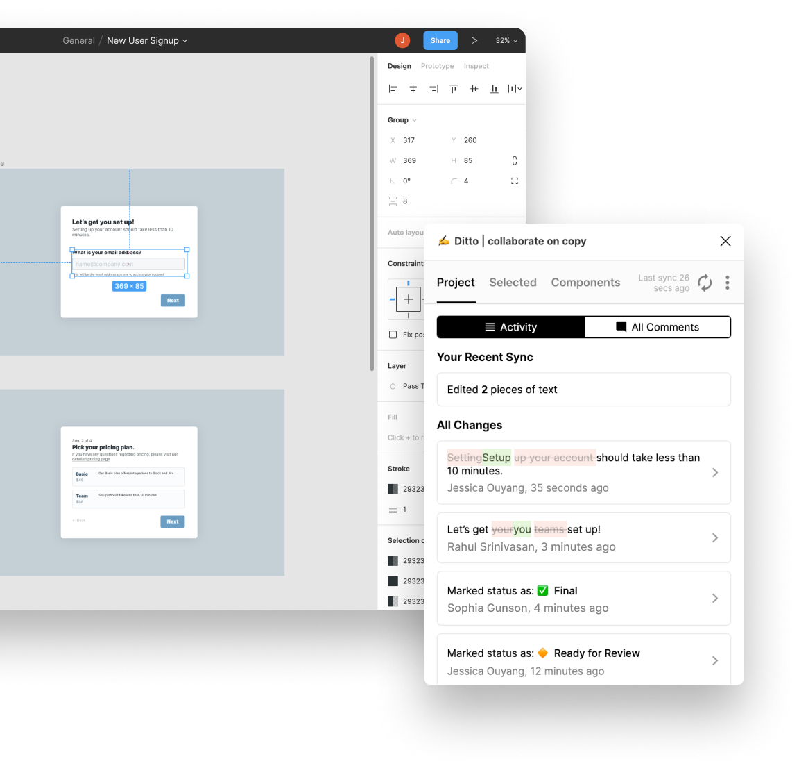Screenshot of Figma and Ditto plugin pulling in latest changes