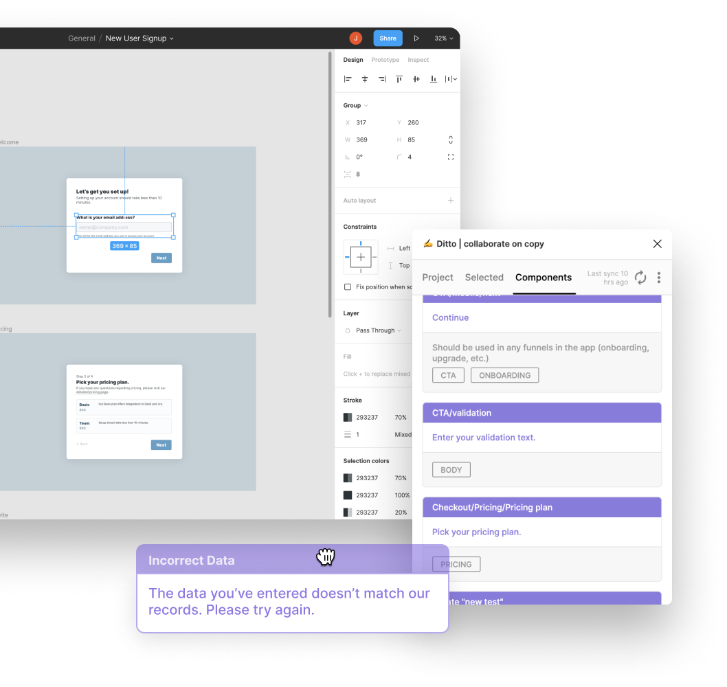 Screenshot of Figma and Ditto plugin being used to drag Ditto components into Figma