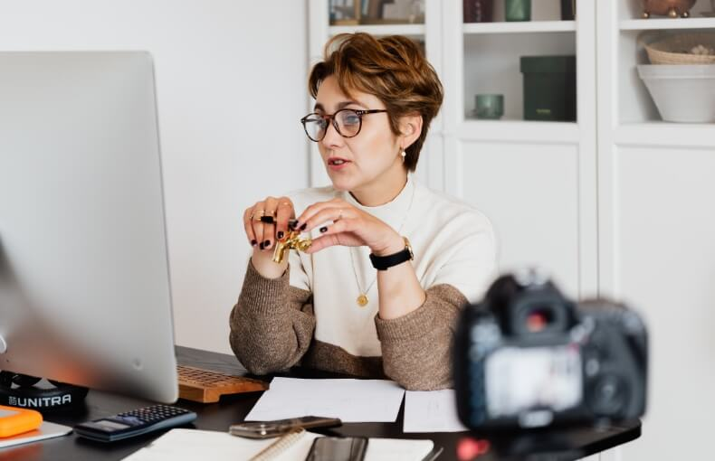 Woman recording a video