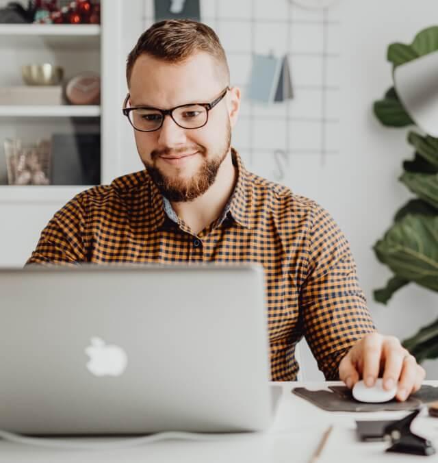 Marketer working at their desk