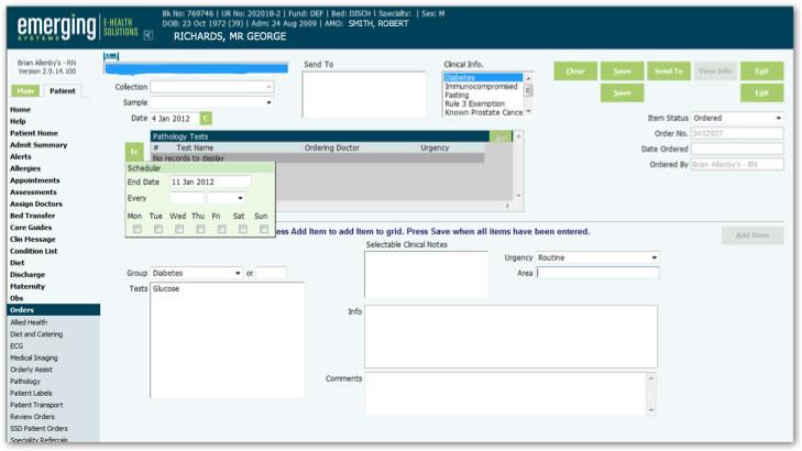 Screenshot from an  E-Health Solution