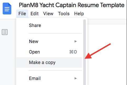 yacht captain resume