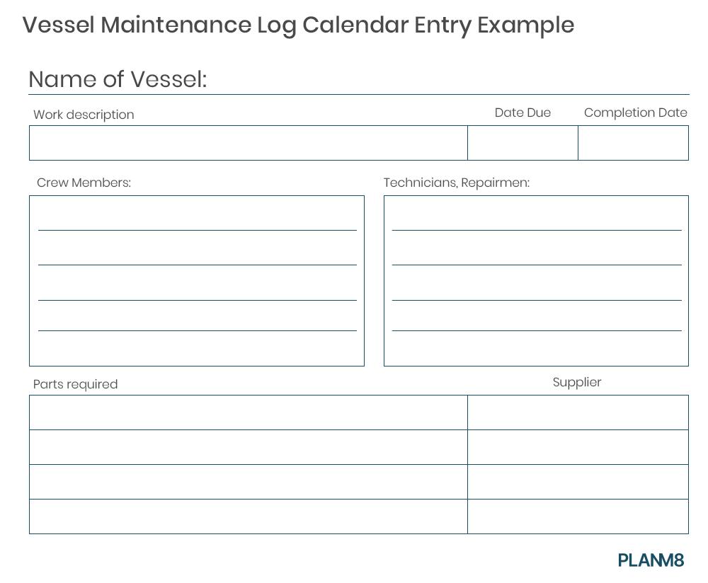 vessel maintenance log calendar