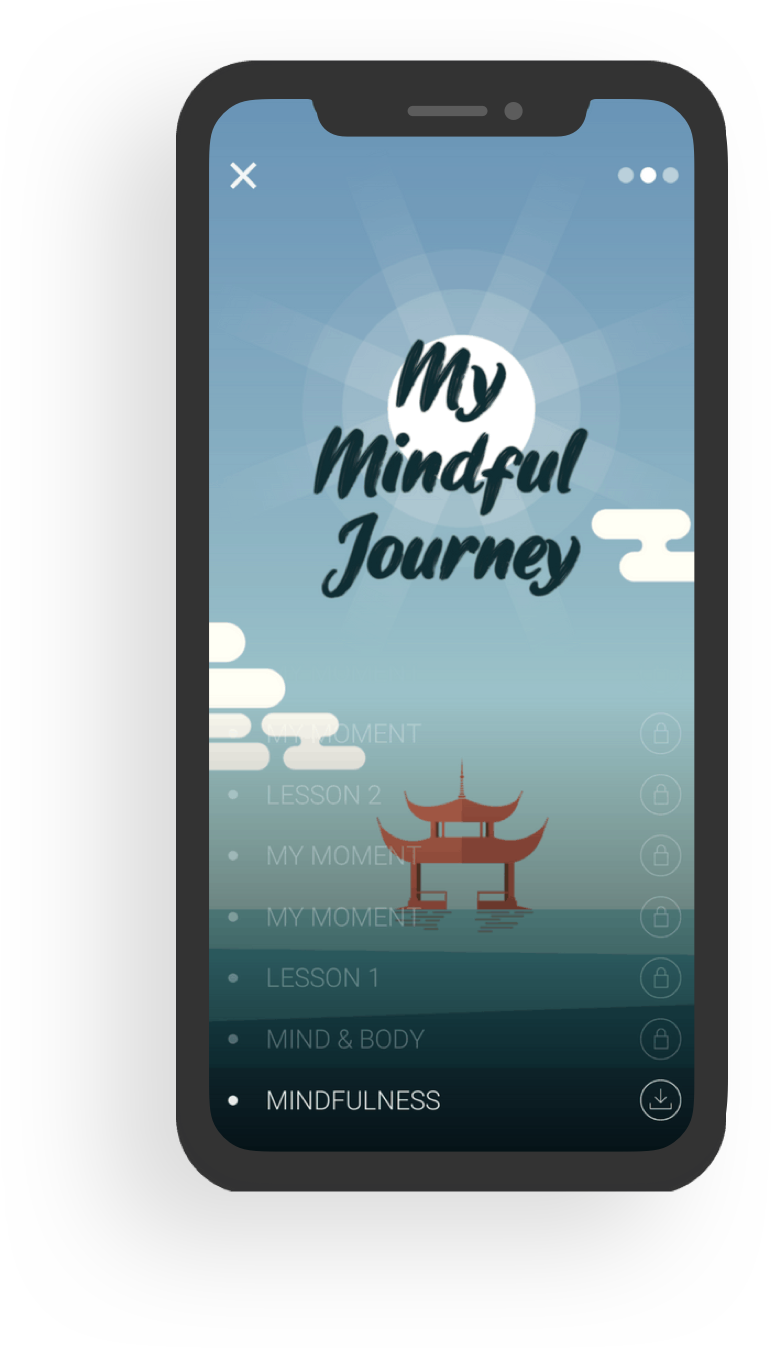 Insurance mobile app shows meditation function for mindfulness