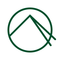 Green logo of a circle with an abstract line drawing of a mountain in it.