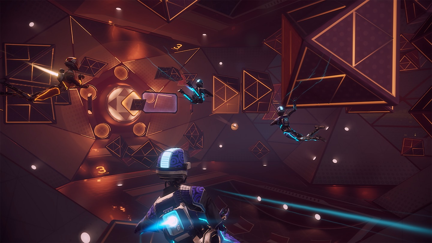 Screenshot of an Echo Arena game with 3 players of one team versus 1 rival team player