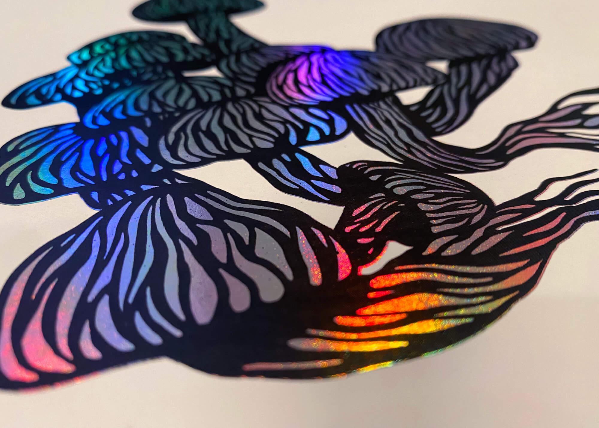 Mushroom foil print