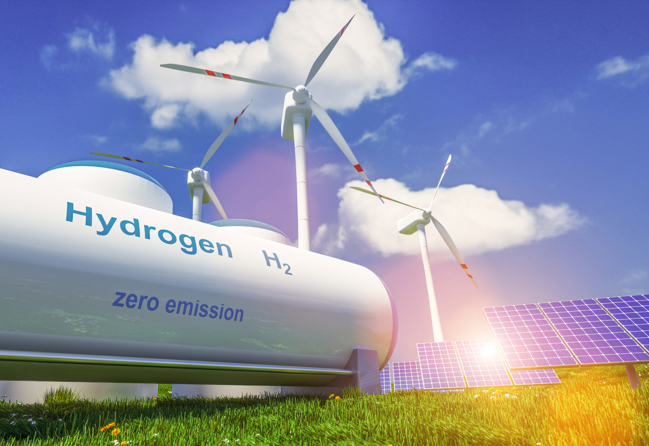 Rendering of hydrogen tank, wind turbines and solar panels all installed in close proximity