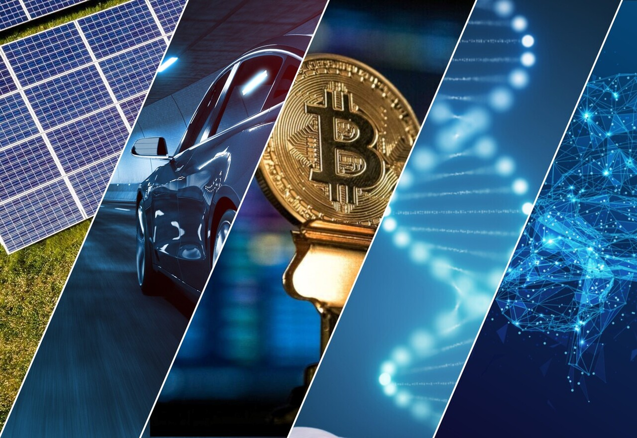 Collage of Images containing solar panels, electric car, bitcoin, DNA, and abstract brain representing AI.