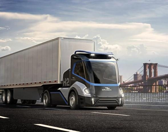 Commercial truck powered by hydrogen or batteries driving down the road