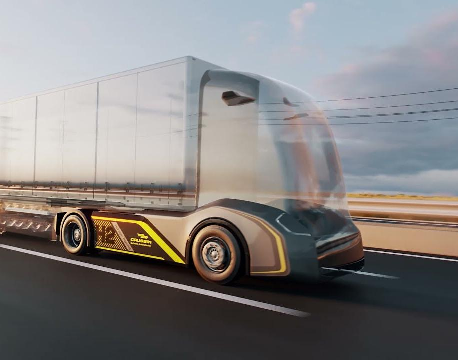Rendering of truck losing its cabin and becoming an autonomous vehicle.