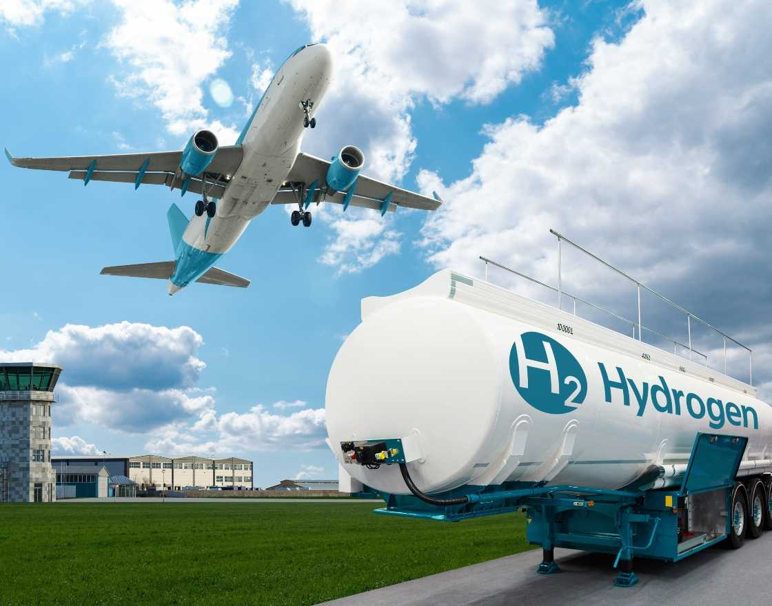 Big Tank of Hydrogen with a plane taking off in the background