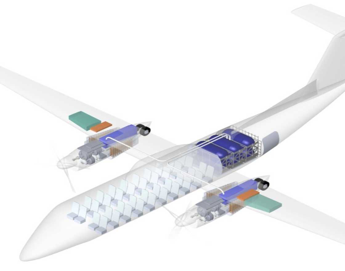 Rendering of regional airplane with conversion kit and fuel capsules.