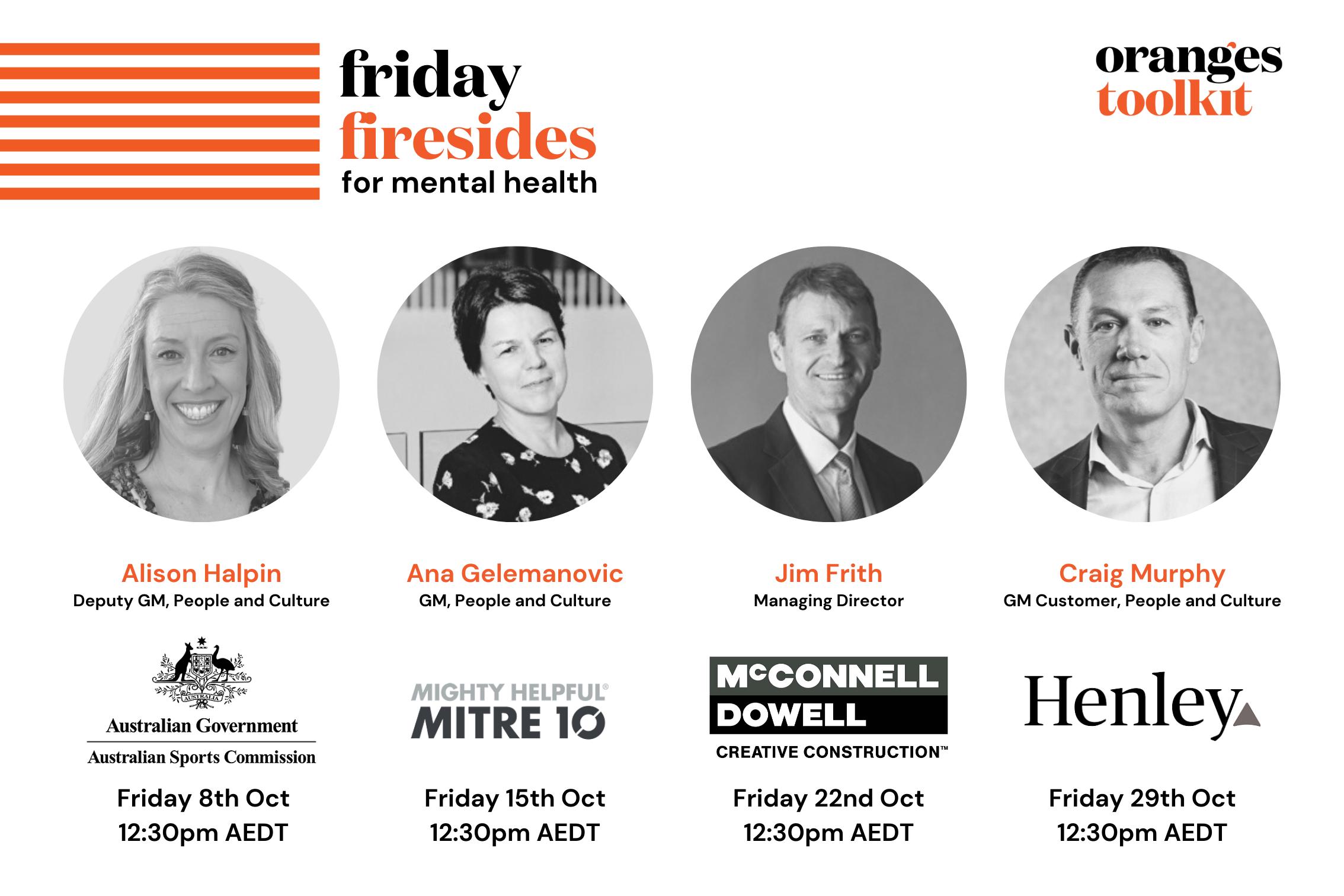 The Oranges Toolkit's Friday Firesides for Mental Health speaker line-up