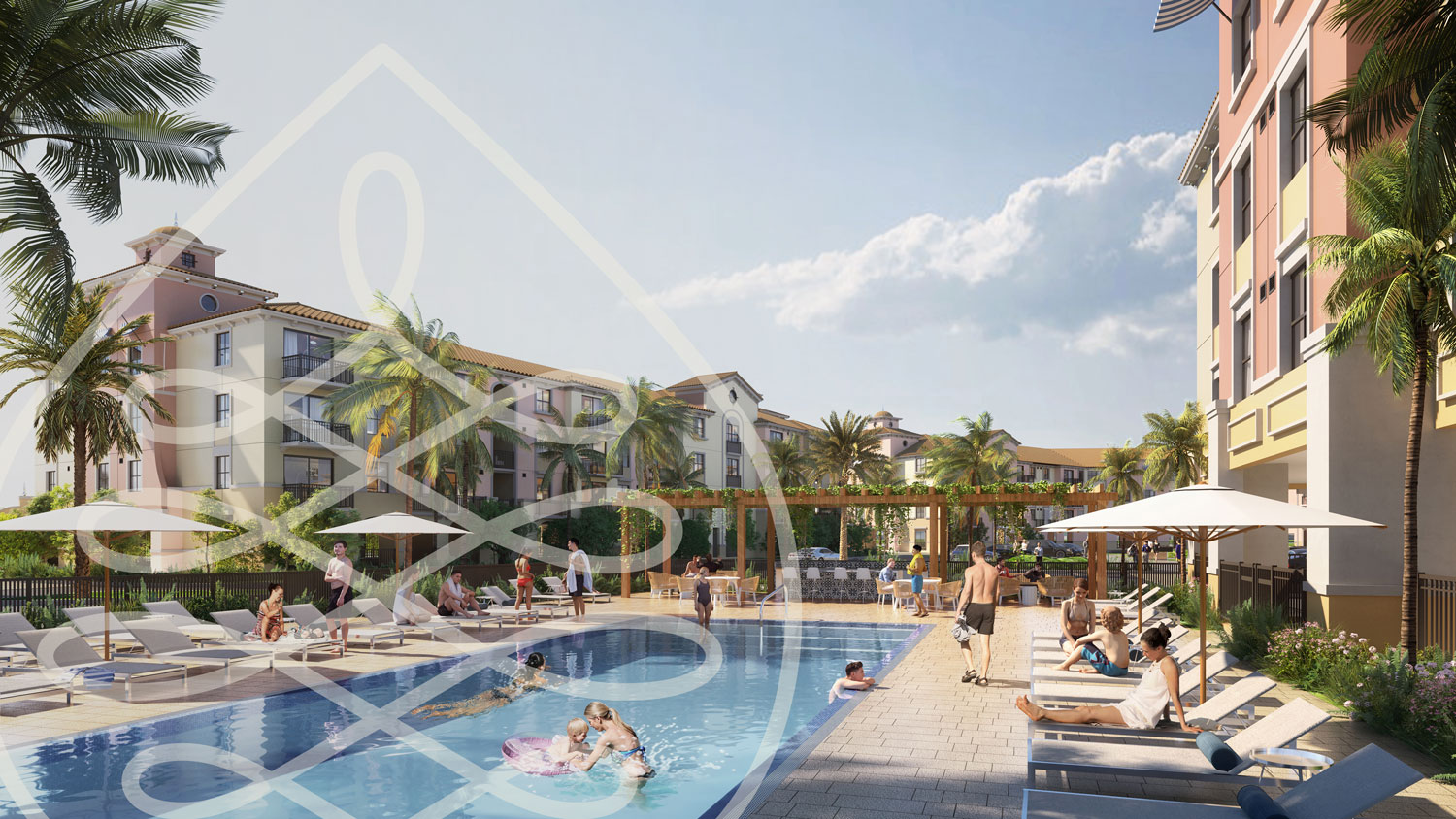 Rendering of pool deck with people lounging in the sun and swimming in the pool
