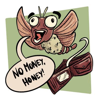 eine motte fliegt aus einem geldbeutel