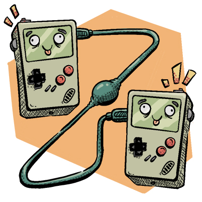 Zwei game boys mit netzwerkkabel