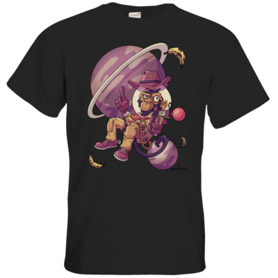 Schwarzes T-Shirt mit Astronaut Affen Cowboy