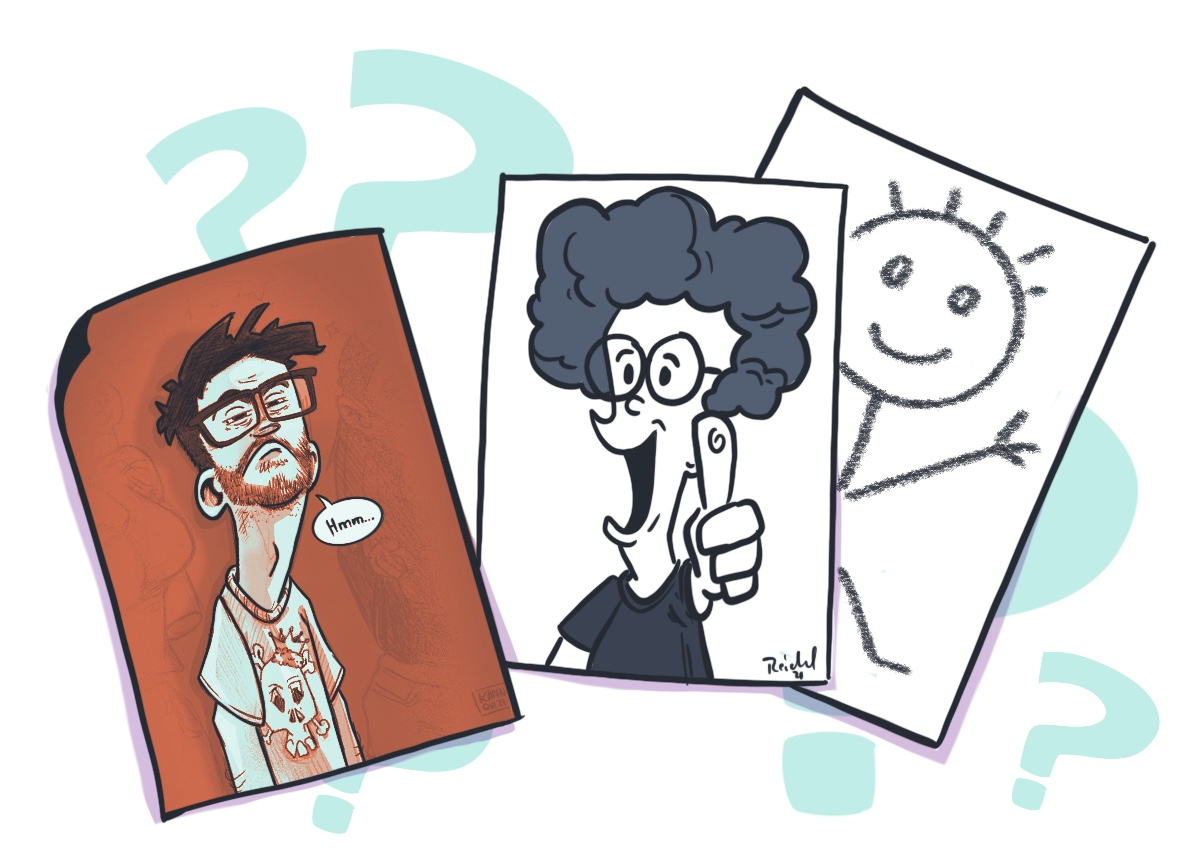 three drawn pictures of random people