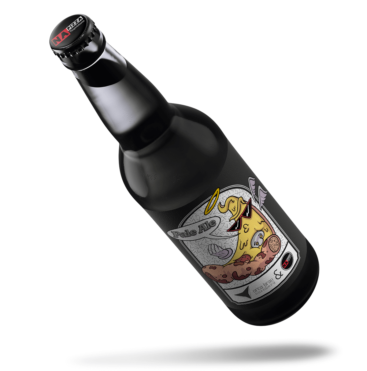 A beer bottle with a pizza on it