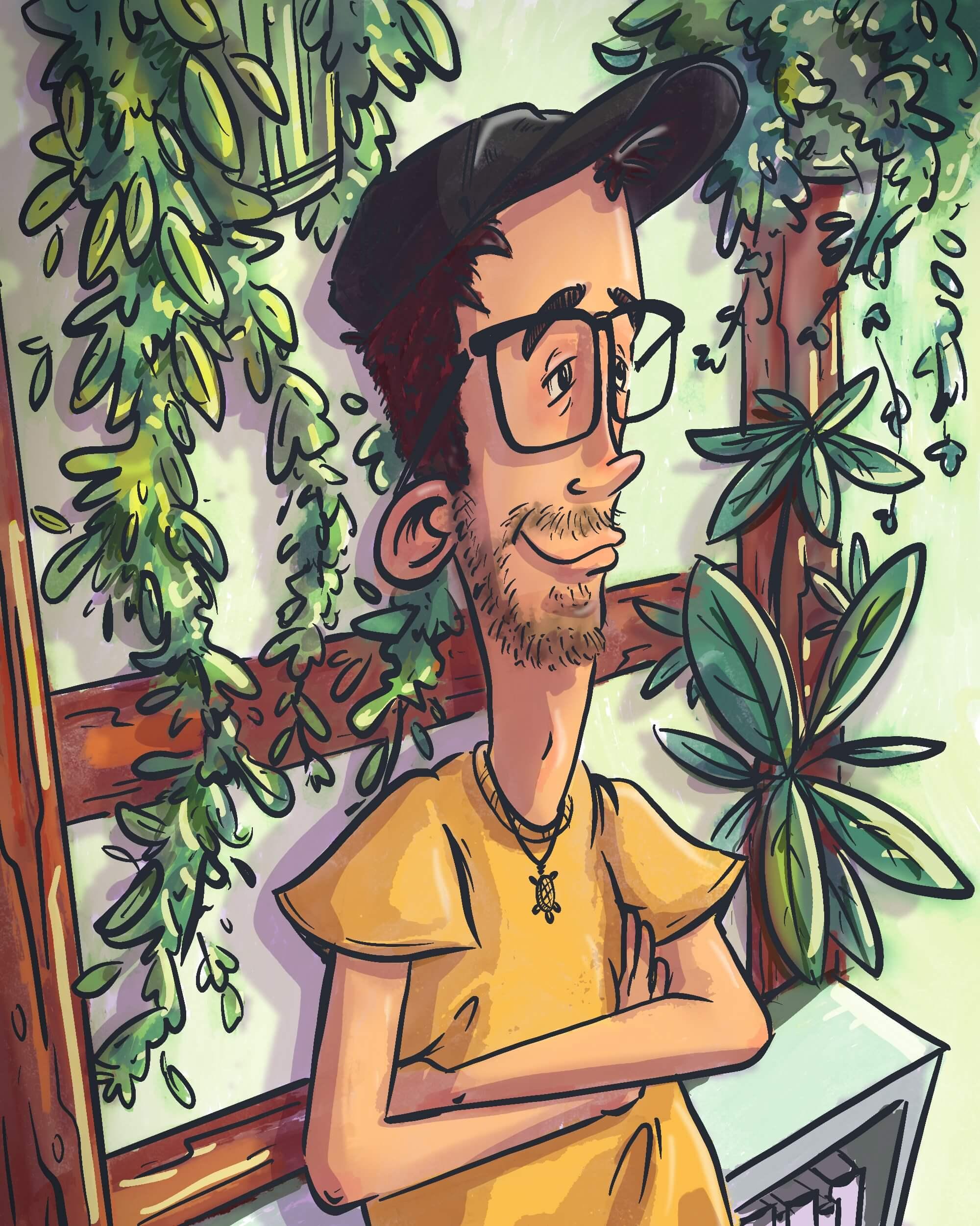 A detailed portrait drawn by Julian Reichel of himself.