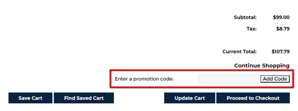 example of promo code.