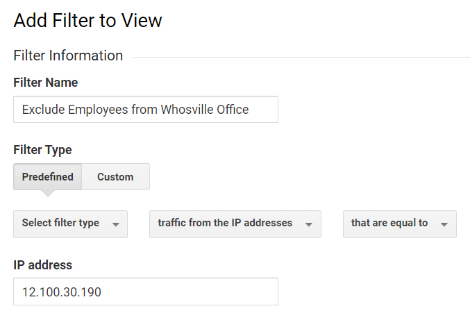 filtering out internal traffic in google analytics.