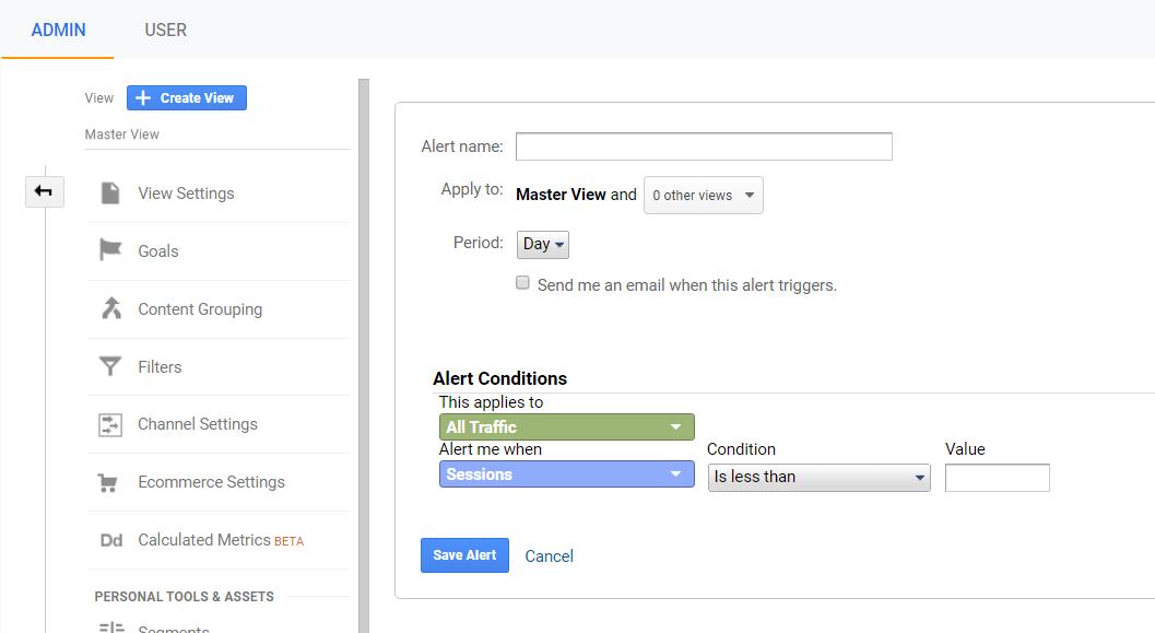 creating a custom alert in google analytics.
