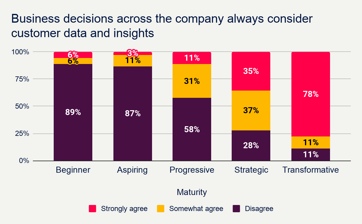 How many businesses consider customer data and insights in decision making? Speero Research