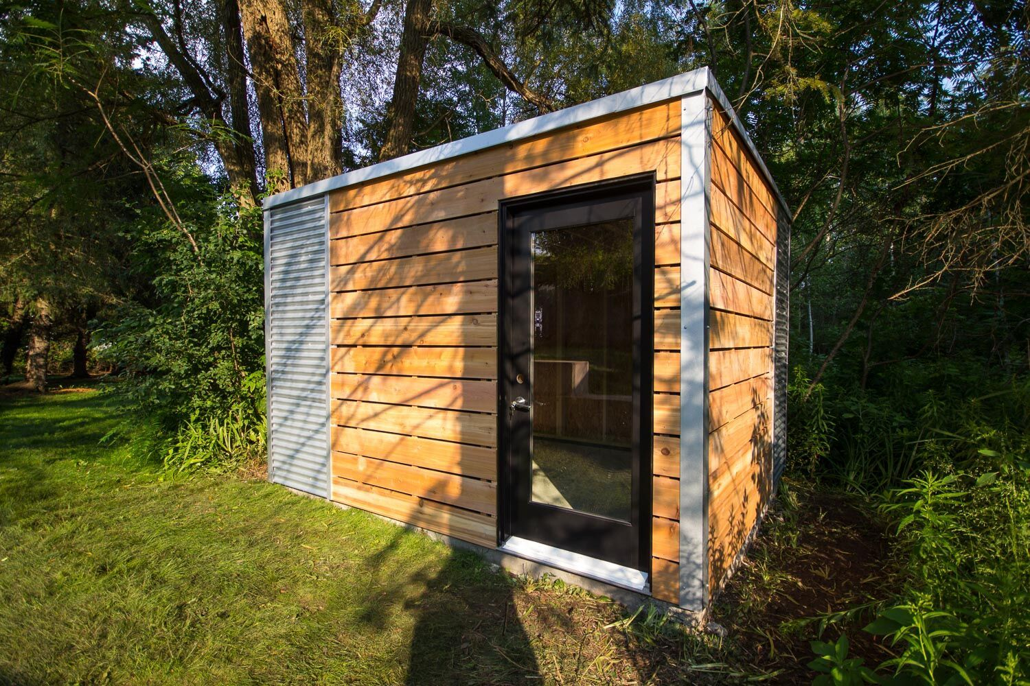 12' x 8' Custom Cube Shed with Cedar Siding and Galvalume Steel
