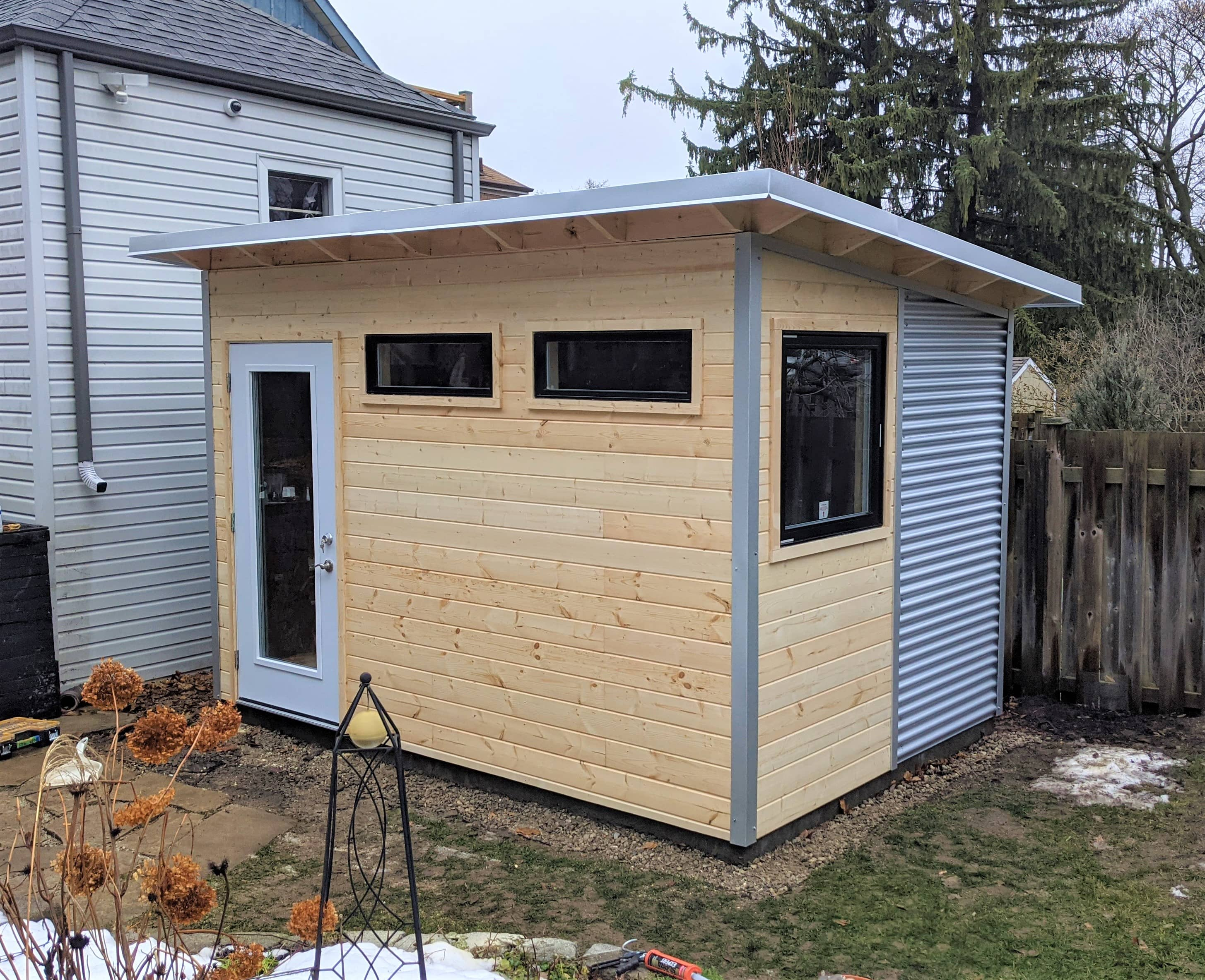12' x 8' Custom Essential Shed with Clear-coated Pine and Galvalume Steel
