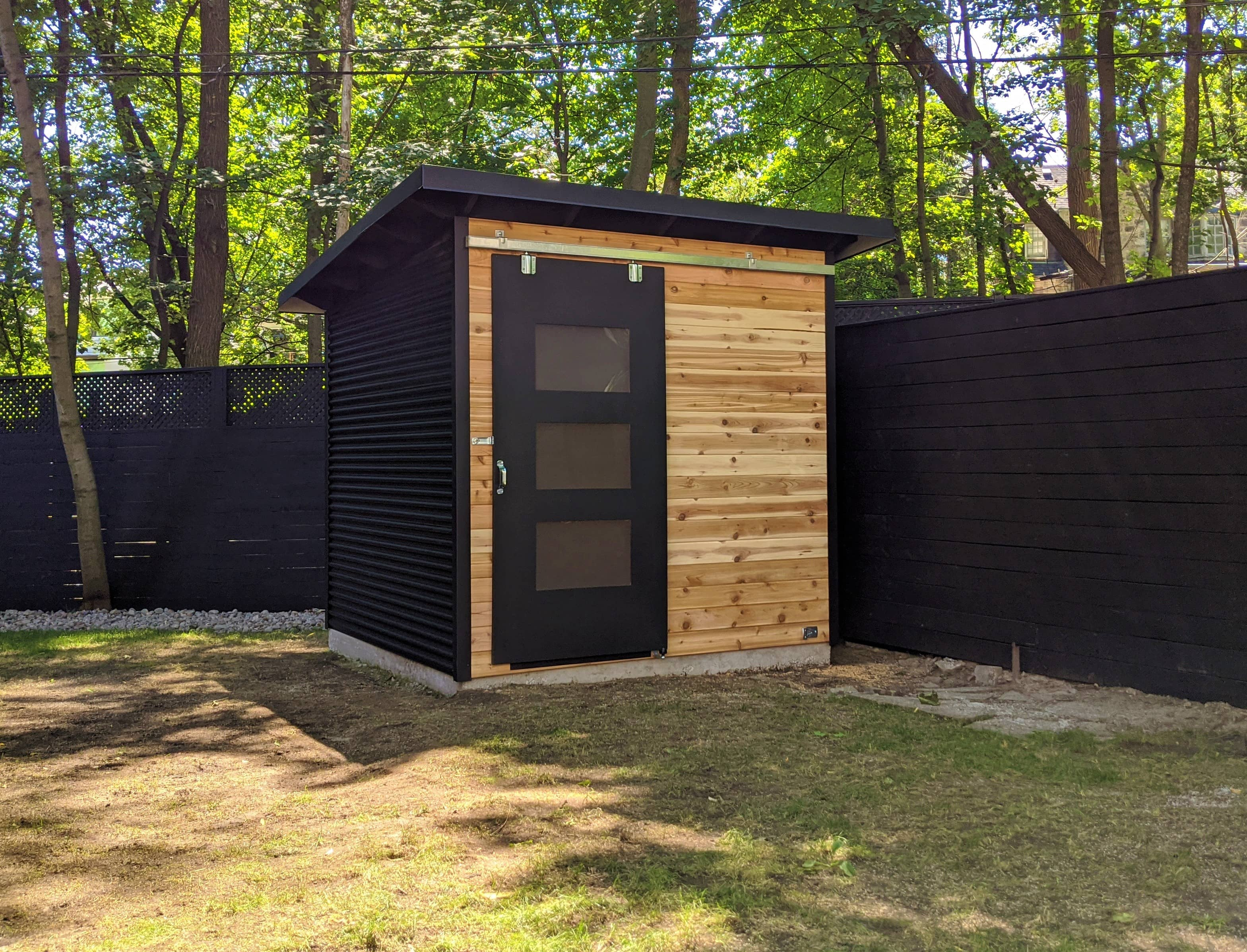 8' x 8' Essential Garden Shed with Natural Cedar Siding and Jet Black Steel