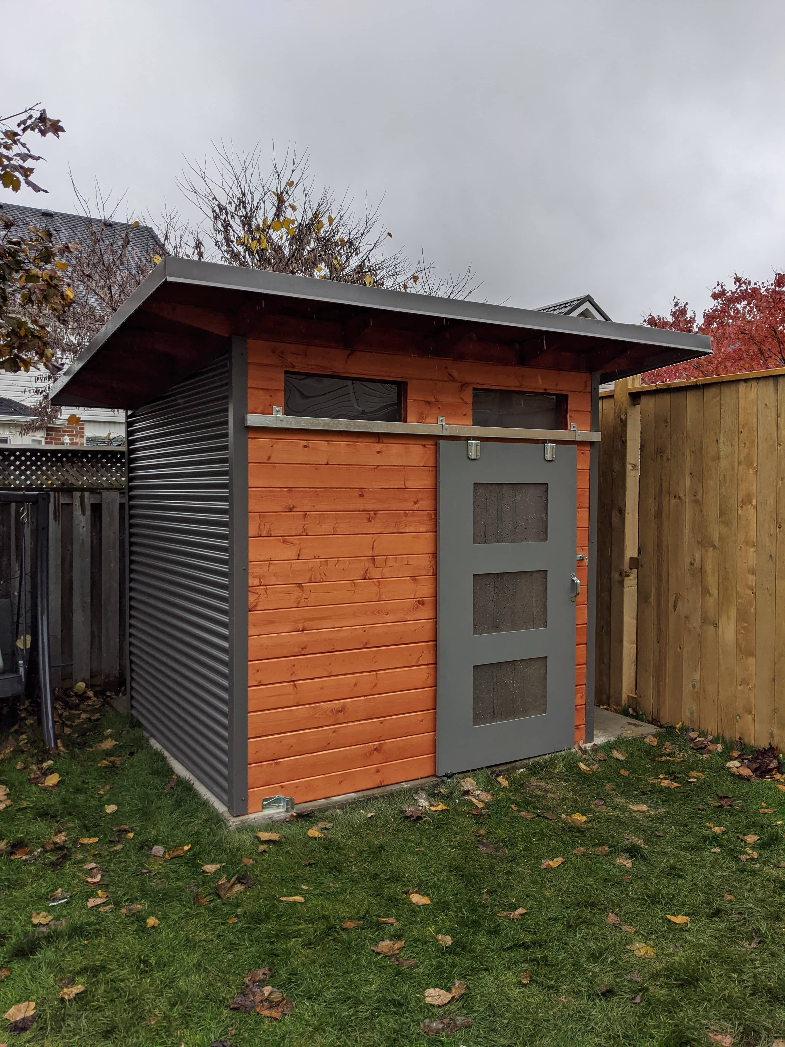 10' x 9' Advanced Shed with Mahogany Stain and Charcoal Steel