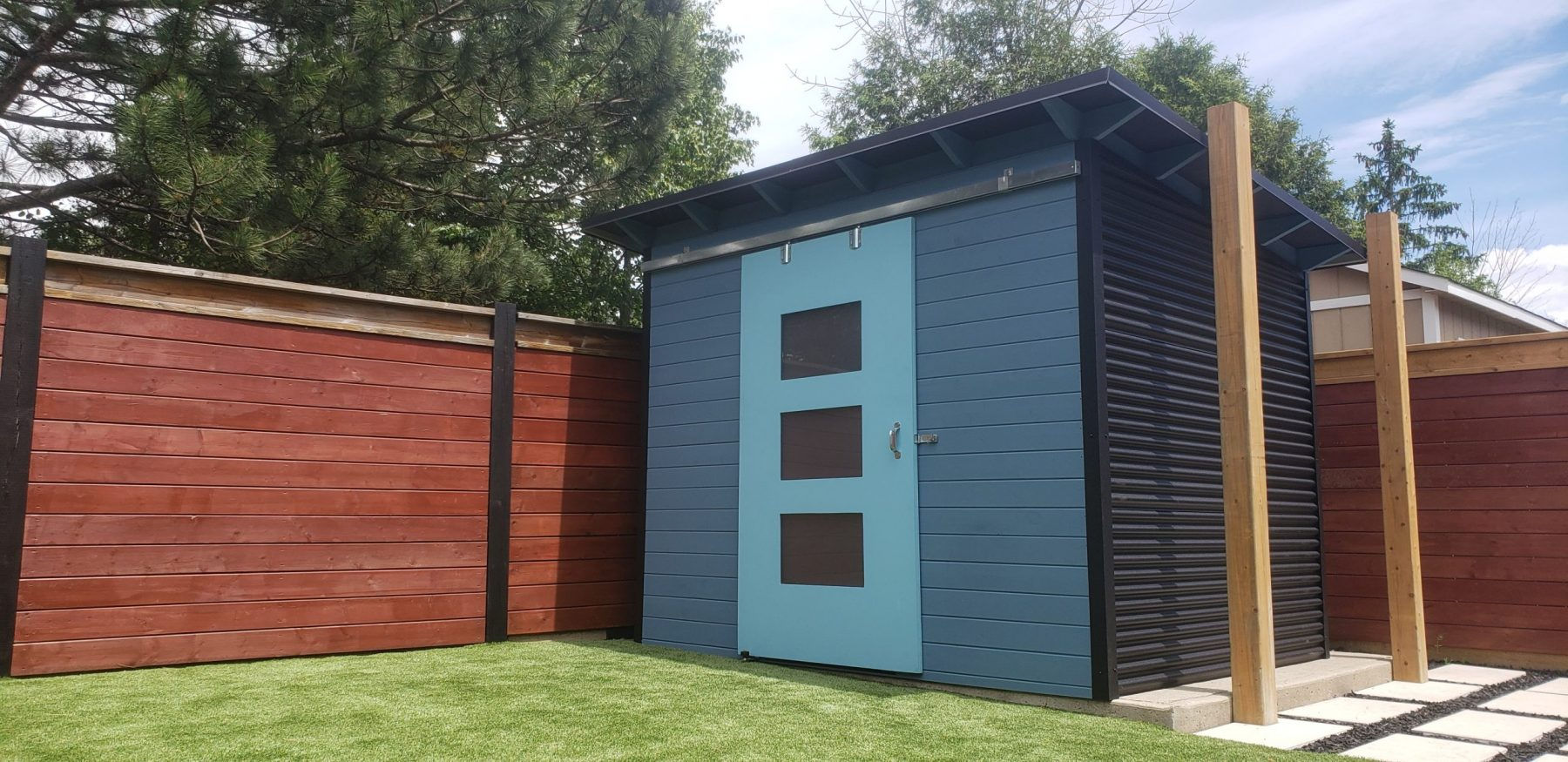 10' x 8' Essential Shed with Blueprint Blue Stain and Bright Turquoise Door