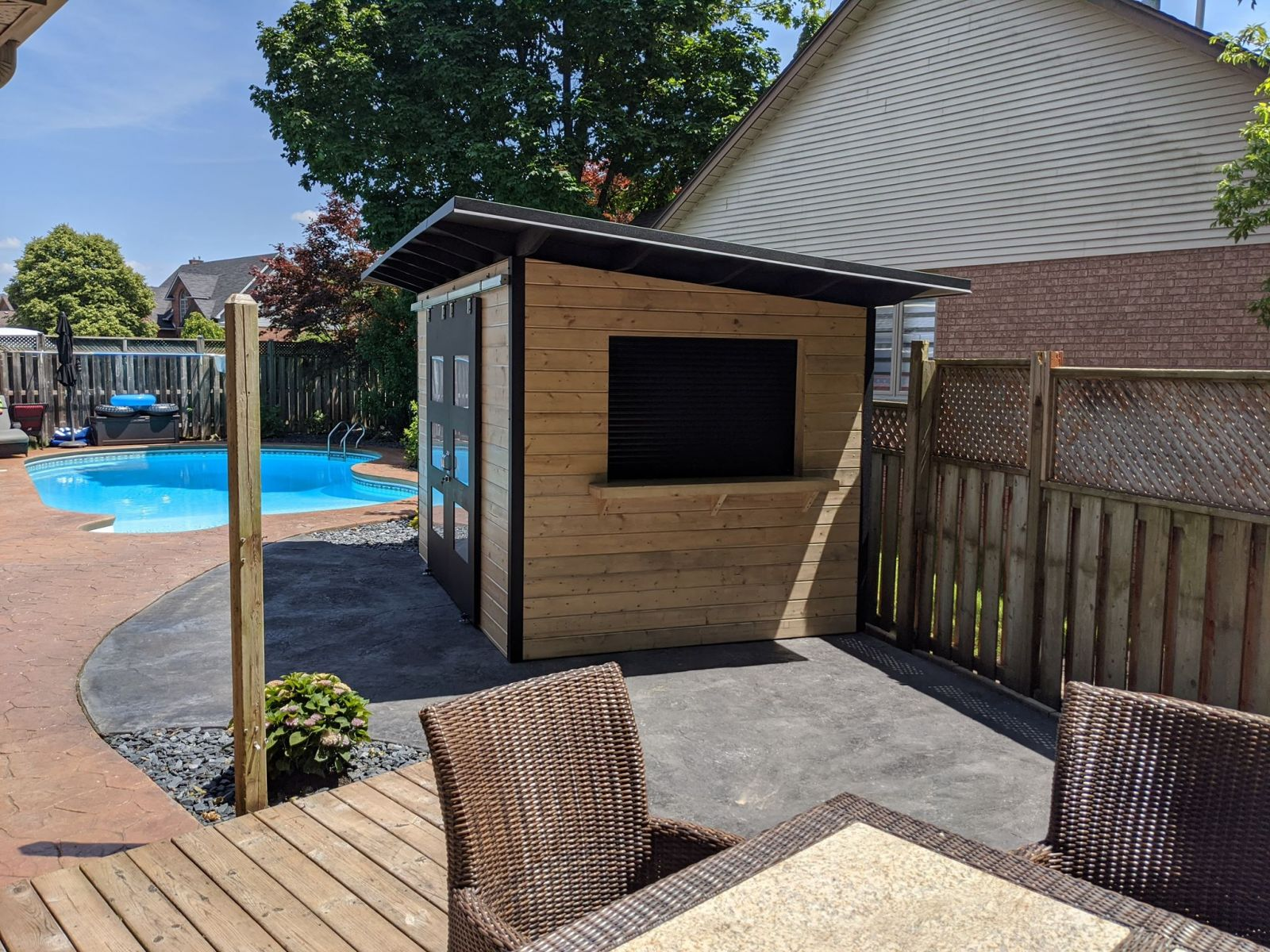 12' x 8' Poolside Bar Shed with Custom Stain and Roll-up Bar