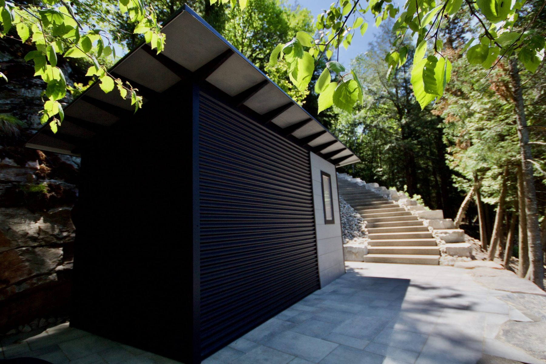 14' x 7' Custom Storage Shed with Kendall Charcoal Stain and Jet Black Steel